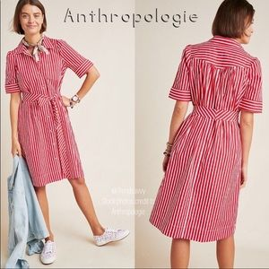 NWT Anthropologie red & white stripped dress
